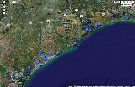 Texas Coastal Monarch Migration Map