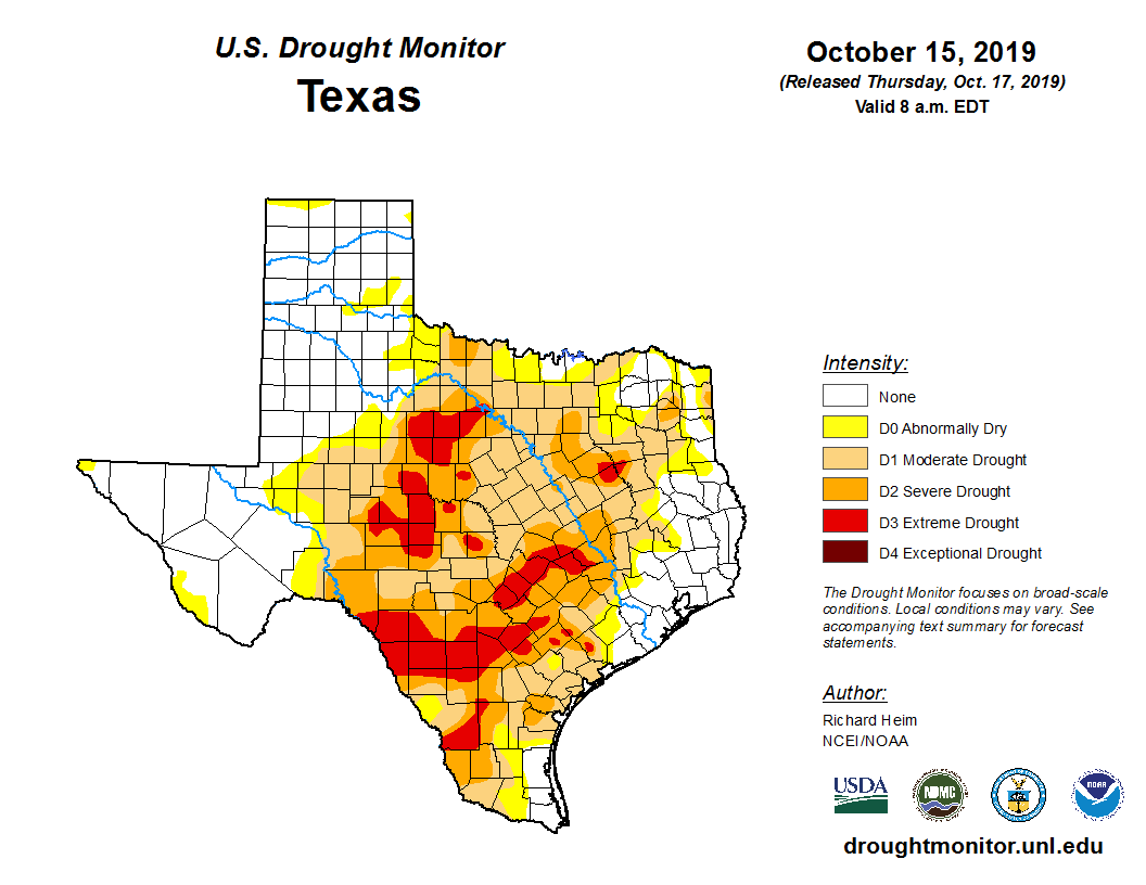 U.S. Drought Monitor, Texas, 2019-10-15